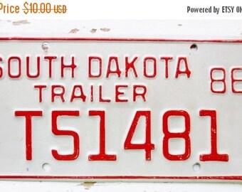 ON SALE 1986, South Dakota, License Plate, Embossed, Trailer, Auto, Red, Supplies, Destash, Numbers, Letters, Steel, Vintage