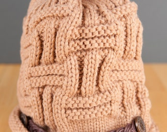 Adult Knit Hat With Leather Braid