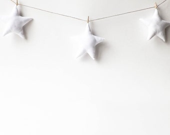 Star Garland, Wall Decor, Baby Bunting, Gender Neutral Nursery Decor, Baby Room, Toddler Room, Kids Room, White, Custom