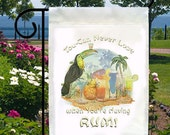 Toucan Never Lose Drinking Rum New Small Garden Yard Flag Tropical Fun