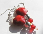 Dangle Earrings: Red Crystal Heart, Frosted White & Red Recycled Glass Beads
