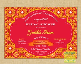 Red, orange and Yellow Bridal Shower Invitation, Red, Yellow, Orange Invitation, Moroccan Print Invitation, Red Moroccan invite Any Occasion