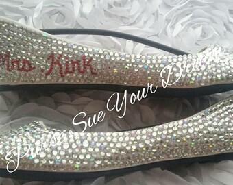 Swarovski Crystal Bridal Ballet Flat Wedding Shoes With Name Crystal Monogram - Custom Wedding Shoes - Rhinestone Shoes - Bride To Be