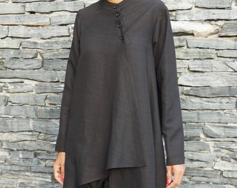 NEW COLLECTION Black Linen Shirt / Extravagant Buttoned Shirt / Asymmetrical shirt / Oversized Stylish Top by Aakasha A11477