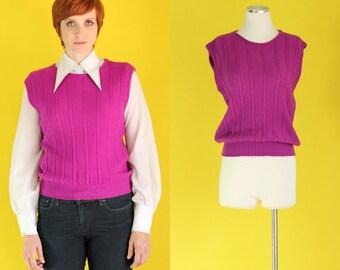 Vintage 70s Sweater Vest - Pendleton Wool Sweater - 80s Sweater - Jewel Tone Purple Sweater - Knit Sweater - Pullover Sweater - Size Medium