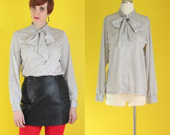 Vintage 70s Secretary Blouse - Black and White Polka Dot Tie Neck Blouse - Long Sleeve Blouse - Silky Blouse - Ascot Blouse - Size Medium