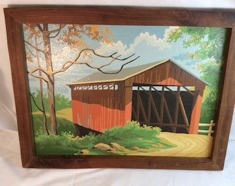Covered Bridge Paint By Number Vintage