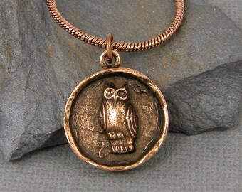 Owl Pendant Necklace Antique Copper Owl Necklace Owl Pendant Medallion Bird Necklace Owl Charm Necklace Copper Bird Necklace  NU4-3