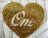 DIY  'one' gold glitter iron on transfer