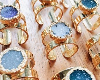 Hiwahiwa ring -  large gold druzy ring, gold ring, cuff ring, gold double ring, gold cuff ring, mineral ring, hawaii jewelry, druzy jewelry,