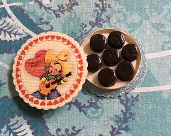 Vintage Little Cowboy Box of Chocolates - Dollhouse Miniatures V4