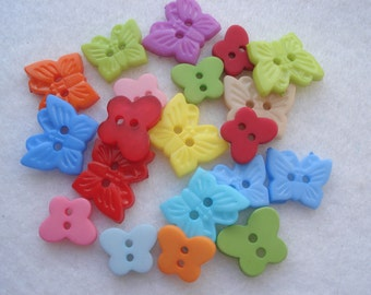 Butterfly Buttons Mixed Colours and Sizes Pack of 20 Mixed Butterfly Buttons A168