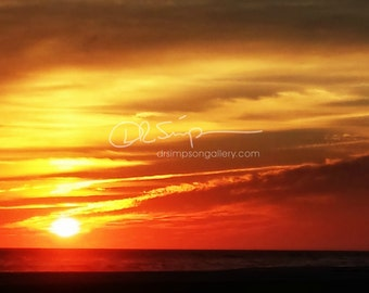 5x7  Beautiful Sunset at Atlantic Beach Photograph, Metallic Finish