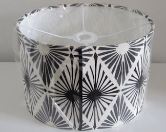 Oval, 30cm Wide  Drum Lampshade In Modern Monochrome Design - Suits Uk / European Light Fittings