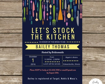 Stock the Kitchen Bridal Shower Invitation - Let's Stock the Kitchen Invitation - Bridal Shower Invite - Stock the Kitchen - Wedding Shower