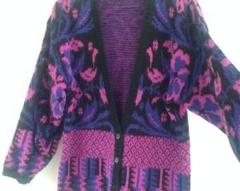 Vintage rad 80s 90s Freesize Oversize Jumper Sweater Cardie Cardigan