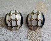 Vintage Earrings - Vintage Clip On Earrings - Vintage Enamel Earrings - 1980s Earrings - Navy Earrings - Gold Cross Earrings  Large Earrings