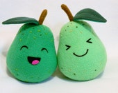 Plush pair of pears fruit toy embroidered