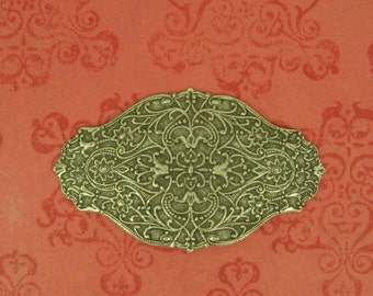 Embossed Domed Oval Sterling Plated Brass Raised Florals  Flourishes 62x37mm (1) Amazing Detail