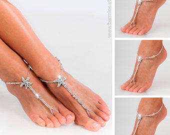 Wedding party set Rhinestone starfish barefoot sandals Bride and bridesmaid feet jewelry Bridesmaid foot thongs Beach wedding sandals