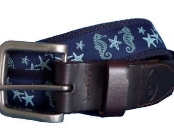 Seahorse and Starfish Leather Belt / Leather Belt / Canvas Belt / Preppy Webbing Belt for Men, Women and Children/Seahorse on Navy Ribbon
