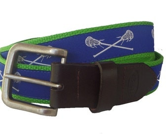 Royal Blue Lacrosse Belt / Leather Belt / Canvas Belt / Preppy Webbing Belt for Men, Women and Children/Royal Blue Lacrosse
