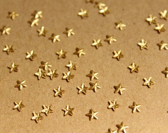 40 pc. Tiny Raw Brass Barn Stars: 4mm by 4mm - made in USA | RB-933