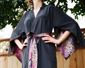 "The ""Haiku"". One custom made long Haiku robe in faux silk crepe with pockets Long kimono robe with pockets Bohemian kimono robe Gift for her"