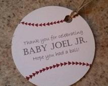 Baseball themed party gift tags.  Baseball thank you tags.  Baseball tags