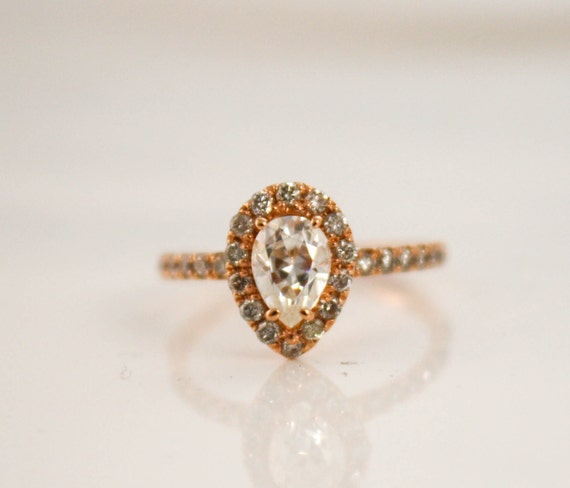 pear moissanite diamond engagement ring in 14k rose gold. Black Bedroom Furniture Sets. Home Design Ideas