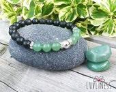 Abundant Blessings, Sterling Silver, Green Aventurine & Shungite Gemstone Mala Bracelet, Healing Reiki Energy, Yoga Jewelry, Chakra Bracelet