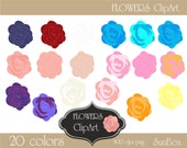 Flowers Pink Purple Red Orange  Blue White Yellow Clipart 20 ClipArt Images for cards, scrapbooking  - instant download - CU OK