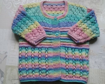 Hand knitted cardigan/ 24inch chest / 24mths/Ready to Ship
