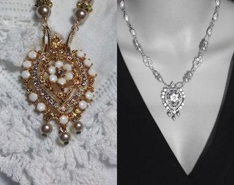 Repurposed Florenza Brooch Assemblage Necklace Gold Pearls Crystal White Stones Redesigned Orig Ornate Flower Pendant Bridal OOAK WishAnWear
