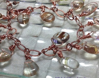 Rutilated Quartz Bracelet Handmade Assemblage Wire Wrapped Dangling Gem Stones Copper Chain Rose Gold Tones Unique OOAK WishAnWearJewelry