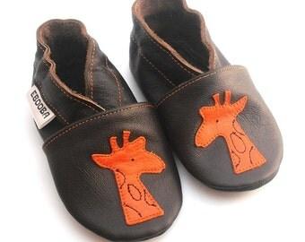 soft sole baby shoes leather infant girl boy gift dark brown orange giraffe 2 3 bébés garçon fille chaussons cuir souple ebooba GF-10-DB-M