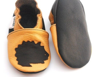 soft sole baby shoes kids children girl hedgehog on yellow 12-18m ebooba HG-6-Y-T-3