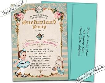 Alice in onederland invitation, alice in wonderland first birthday, alice in onederland birthday, Alice and Wonderland 1st birthday invites.