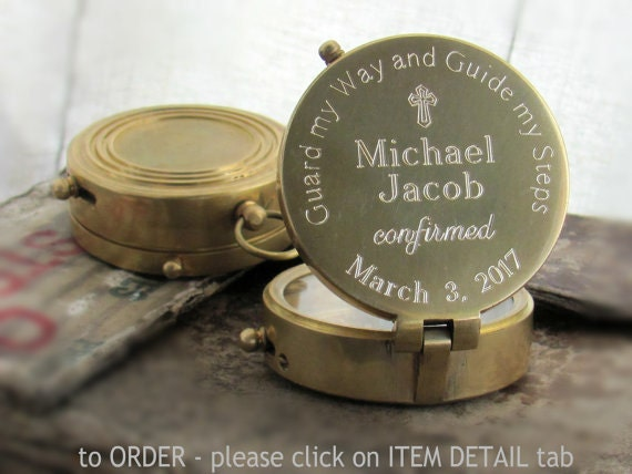 Engraved Compass Confirmation Gift Confirmation Gift Boy