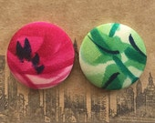 Fabric Covered Button Earrings / Wholesale Jewelry / Pink and Green / Small Gifts / Handmade Earrings / Stud Earrings / Sensitive Ears