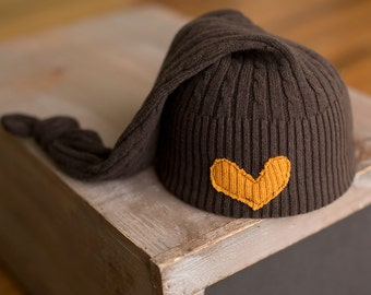 Newborn Hat Upcycled Brown Cable Knit Sleepy Stocking Cap with Heart READY TO SHIP Neutral Organic Colored Photography Prop, Newborn Hats