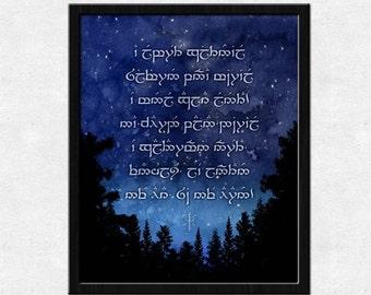A Elbereth Gilthoniel Sindarin Elvish Poster