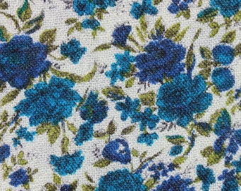 Vintage Woven Lightweight Fabric, Turquoise Blue Green Flowers Floral, Scarf Sewing Quilting Fabric Material, 1 2/3 yard