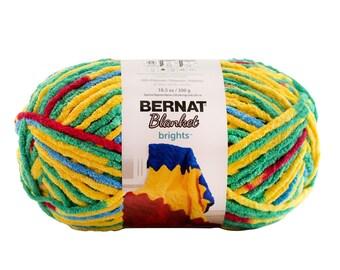 Bernat Blanket Brights Yarn Rainbow Shine Variegated Large Skein 300 Grams New Home Decor Color
