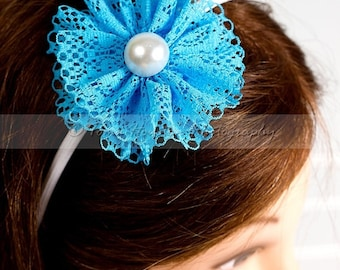 ON SALE Turquoise Lace Flower, White Headband with Pearl Center