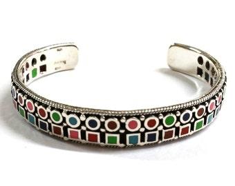 Vintage Sterling Silver Multi Colored Cuff Bracelet