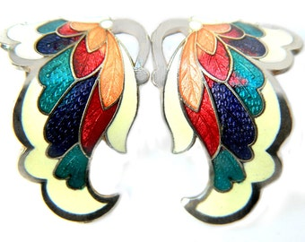 Enamel Butterfly Earrings Vintage Clip On 1960s Insect Jewelry Rainbow Butterfly Wings Cloisonne Earrings For Women Hippie Fantasy Jewelry