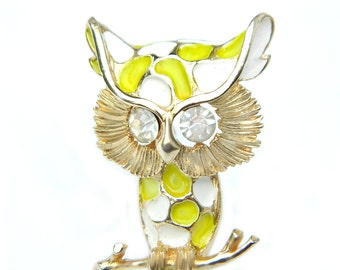 Owl Brooch 10K Gold Retro Lime Green Enamel And Rhinestone Bird Pin Vintage Collectible Jewelry 10K Overlay Lime Green Retro Mid Century