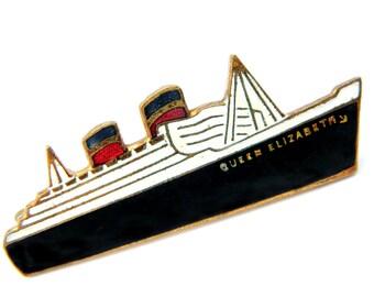Queen Elizabeth Ship Brooch Stratton 1930's Vintage Cunard Line RMS Queen Elizabeth Ocean Liner Historical Pin Art Deco Style Enamel