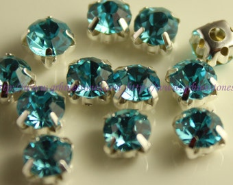 Aquamarine Blue Sew on rhinestone chatons in silver color prong setting available 4mm 5mm 6mm 7mm 8mm 10mm